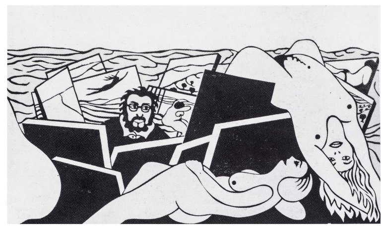 Moshe Hoffman, Self Portrait, 1971, mixed media on wood, 120x220 (photo ...