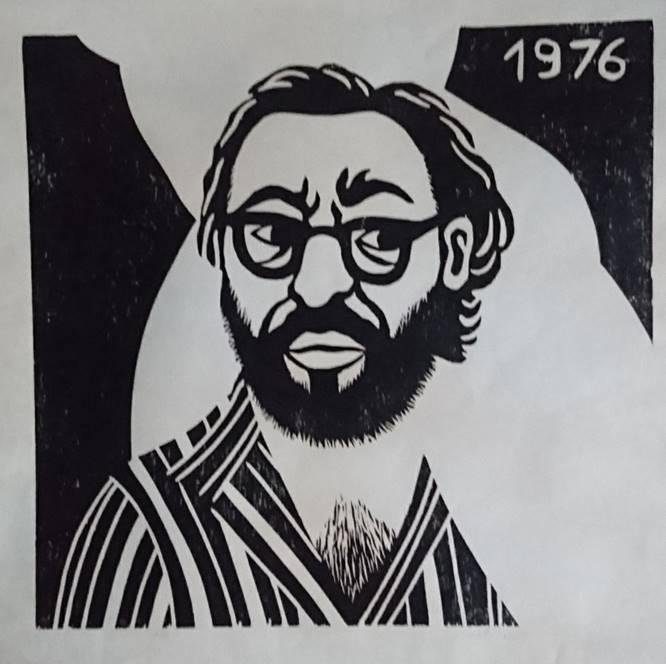 Moshe Hoffman, Self Portrait, 1976, woodcut, 54x56.5 cm, (photo credit R...