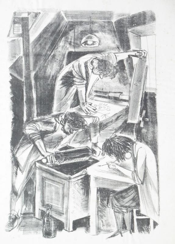 שמוליק כץ, בסדנת ההדפס, 1953 ליתוגרפיה Shmuel katz, at the printing workshop, 1953 lithograph.