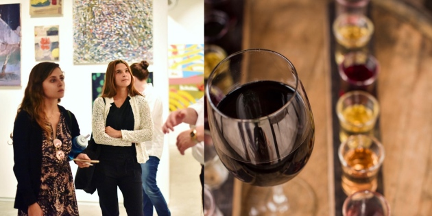 art and wine collage